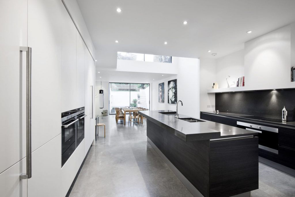 Large black and white kitchen
